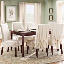 Suede Dining Room Chairs Sure Fit Cotton Duck Shorty Dining Chair Slipcover Walmart Com