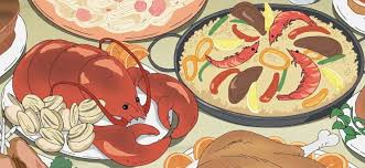 animation cuisine seafood paella and lobster dishes seafood paella