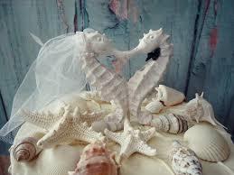 seahorse cake topper seahorse wedding cake topper white ivory groom seahorse cake