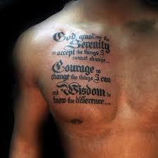 guys chest with serenity prayer design tattoos