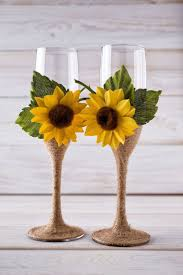 sunflower wedding decorations wedding chagne glasses sunflower wedding glasses rustic