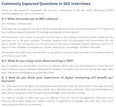interview questions for marketing job what are the most asked interview questions for seo professionals