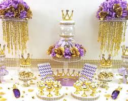 baby shower themes purple and gold prince princess baby shower candy buffet