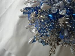 silver and royal blue wedding wedding bouquet in royal blue and silver with crystal flowers