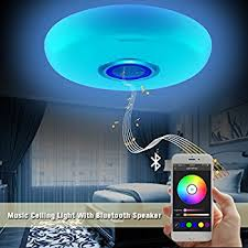 le 24w dimmable led music ceiling lights with bluetooth speaker