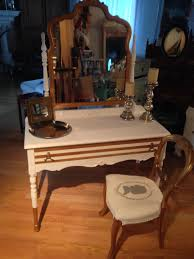 dark brown wooden dressing table with mirror combined with blue