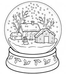 christmas printable coloring snow globe christmas