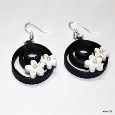 quiling earrings paper quilled earrings black white quilled jewell