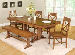 Rustic Dining Room Sets Rustic Dining Table Set Black Varnish Wood Bench Leather Soft Wood