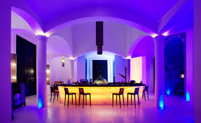 wonderful luxury home bar designs with purple and yellow lighting