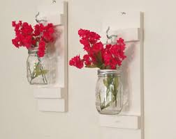 Vase Wall Sconce Mason Jar Wall Sconces Painted White Mason Jars Flower Vase