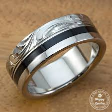can titanium rings be engraved black titanium engraved scroll pattern titanium ring