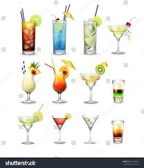 blue martini clip art vector set popular cocktails shots cuba stock vector 619544549