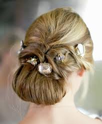 hair jewels tucked chignon with hair jewels prom wedding formal