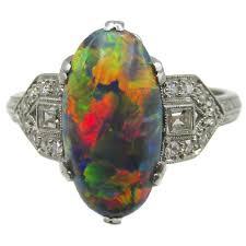 black opal engagement rings deco platinum diamond lightning ridge black opal ring at