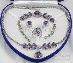 gemstone jewelry necklace images 2018 wholesale pretty purple crystal silver necklace bracelet jpg