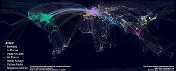 World At Night Map by Mapping The World U0027s Biggest Airlines R Bloggers