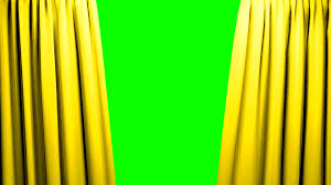 Yellow Curtains Opening And Closing Stage Theater Cinema Green