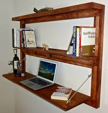 rustic wall mounted fold out desk with shelves bookcase floating