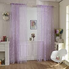 Purple And White Curtains Haoun 2pcs Butterfly Window Panels Drapes Curtains