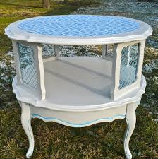 two tier end table painted furniture tiered table round french