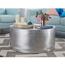 silver drum coffee table amrah home sarah hammered metal coffee table free shipping today
