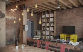 industrial russia loft interior design hanging lights házak