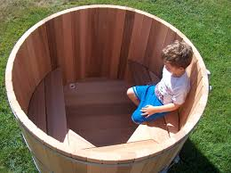 outdoor soaking tub for two people wood barrel round soaking tub