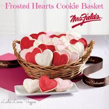 cookie basket mrs fields frosted hearts cookie basket leslie veggies