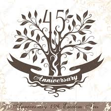 Classic Tree Anniversary 45th Emblem Tree In Classic Style Template Of