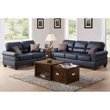 px 2 pcs black bonded leather sofa loveseat with nailhead trim