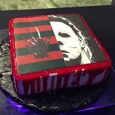 Halloween Birthday Cake Ideas by Freddy Kruger Vs Michael Myers Halloween Cake Annacakes Com