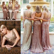 rose gold sequins country long bridesmaid dresses 2018 mixed style
