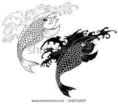 koi carp fish yin yang symbolsilhouette stock vector 1016731657