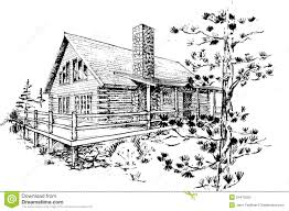 Log Cabin Design Plans by Amazing Small Cabin Designs With Loft 9 Log House Pen Ink Sketch