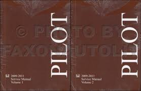 2009 2011 honda pilot repair shop manual original 2 volume set