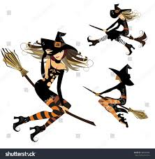 witch on broom flight witch cheerful stock vector 489636496