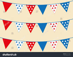 Red White Flag With Blue Star Red White Blue Star Bunting Flags Stock Vector 592718486