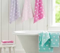 Aqua Towels Bathroom Heart Bath Towel Collection Pottery Barn Kids