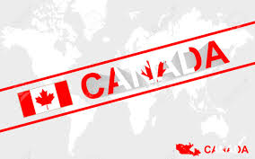 Canada World Map by Canada Map Flag And Text Illustration On World Map Royalty Free