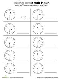 telling time on the half hour worksheet education com