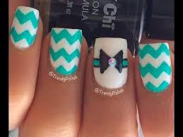 bow u0026 chevron nail art tutorial youtube