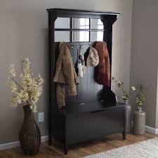 Black Hall Tree Bench Black Wood Hall Tree Storage Bench With Coat Rack Also Vertical