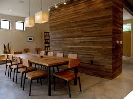 modern dining room ideas with rustic hardwood wall decor and