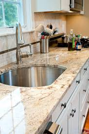 Backsplash With Accent Tiles - granite countertops and backsplash kitchen transitional with