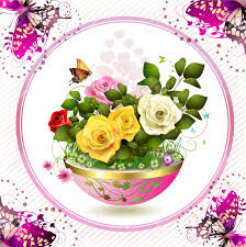 flowers in flowerpot with roses and butterflies royalty free