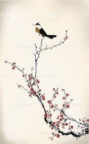 image of a bird on a cherry blossom tree branch stock vector