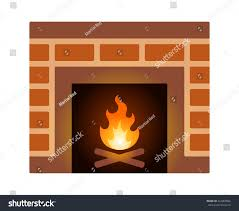 brick fire place fireplace firewood flat stock vector 524000866