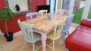 Pastel Dining Chairs Solid Pine Farmhouse Table And 6 Chairs Pastel Colours In