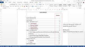 daftar isi tutorial membuat u0027daftar isi u0027 di microsoft word rara story